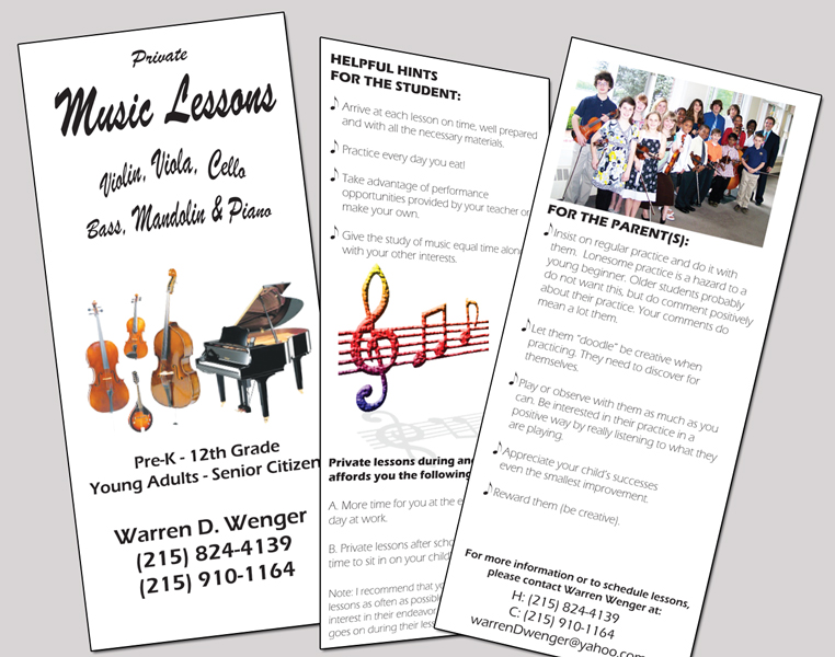 Music Brochure Business Card  Letterhead Music School Brochure